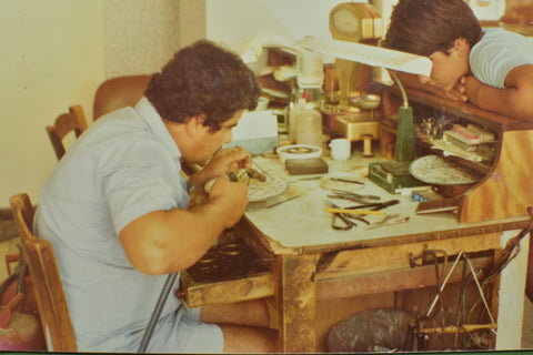 Anastasis working at his workshop, 1980