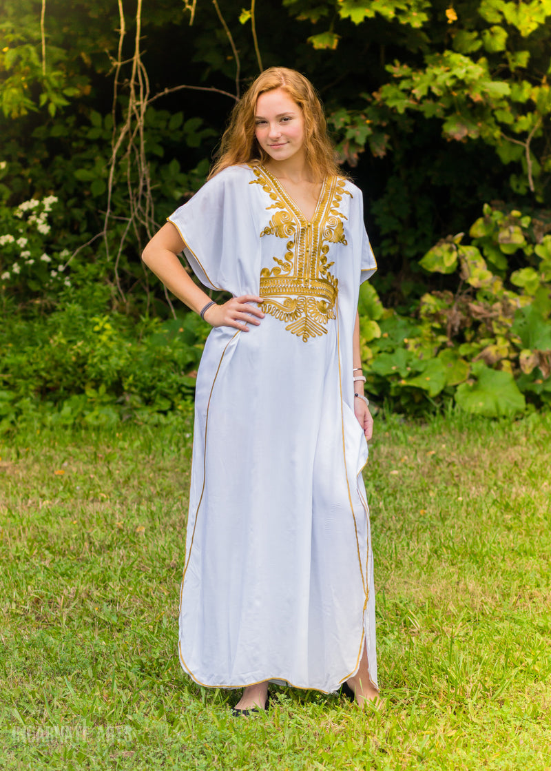 Beautiful Moroccan Kaftan | Embroidery Batwing Maxi Dress