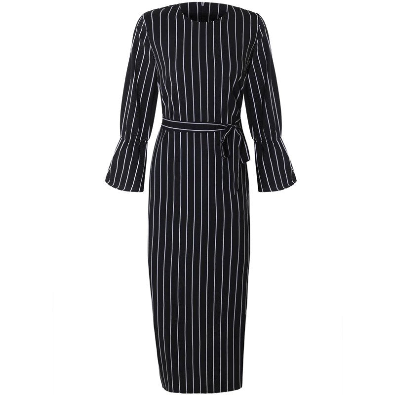 Long Sleeve Striped Abaya Dress