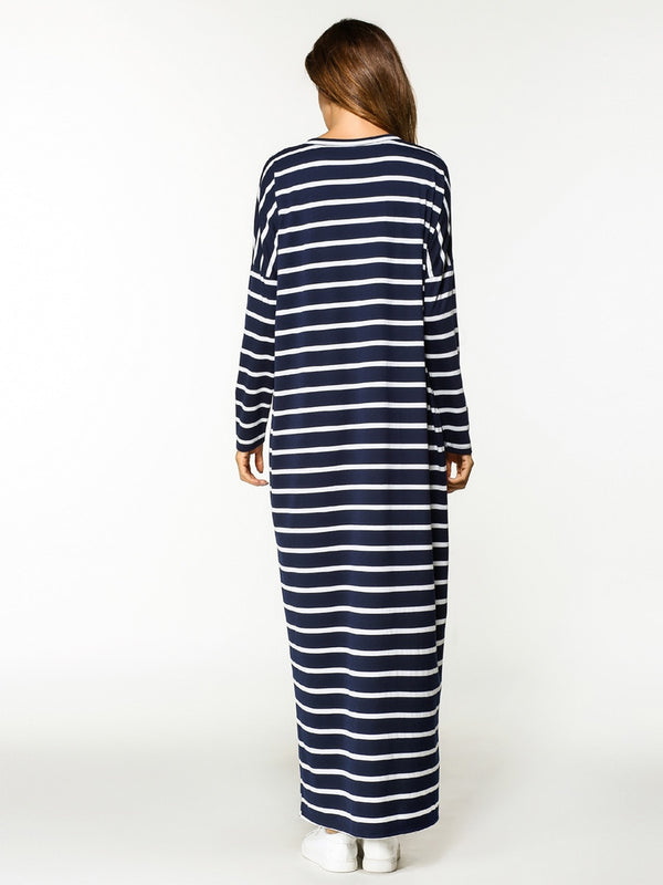 Casual Striped Maxi Dress Bat Sleeve