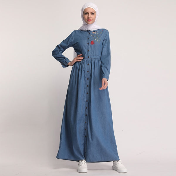 Blue Denim Abaya With Hijab Scarf