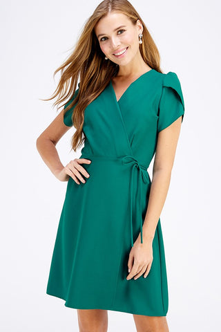 Tulip Sleeve Wrap Dress