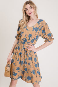 Floral Printed Elastic Waistband Dress