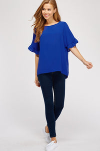 Royal Blue Ruffle Sleeve Top