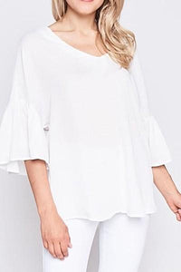 Ruffle Sleeve Tie Back V-Neck Top