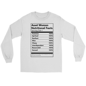 Asset Woman Nutritional Facts Women's Tee Long Sleeve White