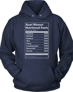 Asset Woman Nutritional Facts Women's Hoodie Navy Blue