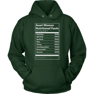 Asset Woman Nutritional Facts Women's Hoodie Dark Green