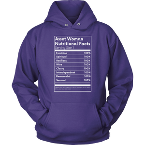 Asset Woman Nutritional Facts Women's Hoodie Purple
