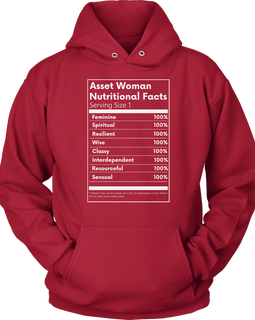 Asset Woman Nutritional Facts Women's Hoodie Red