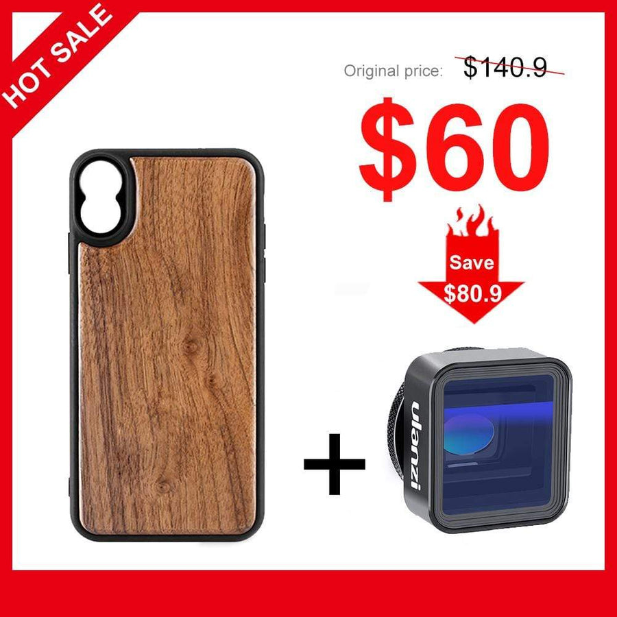 Ulanzi Wooden Case for iPhone X, iPhone XS, iPhone XS Max+NEW ULANZI 1.33X Anamorphic Lens 17mm