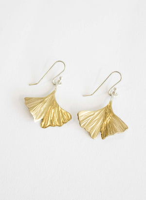 Gold Gingko Leaf earrings