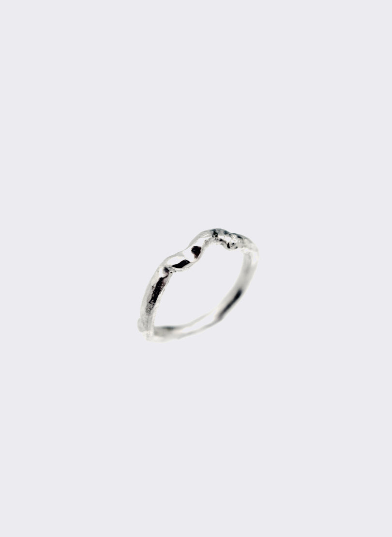 Rose Twig Ring - Bright Silver