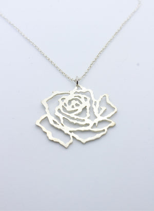 Large Cut Out Rose Pendant - Silver
