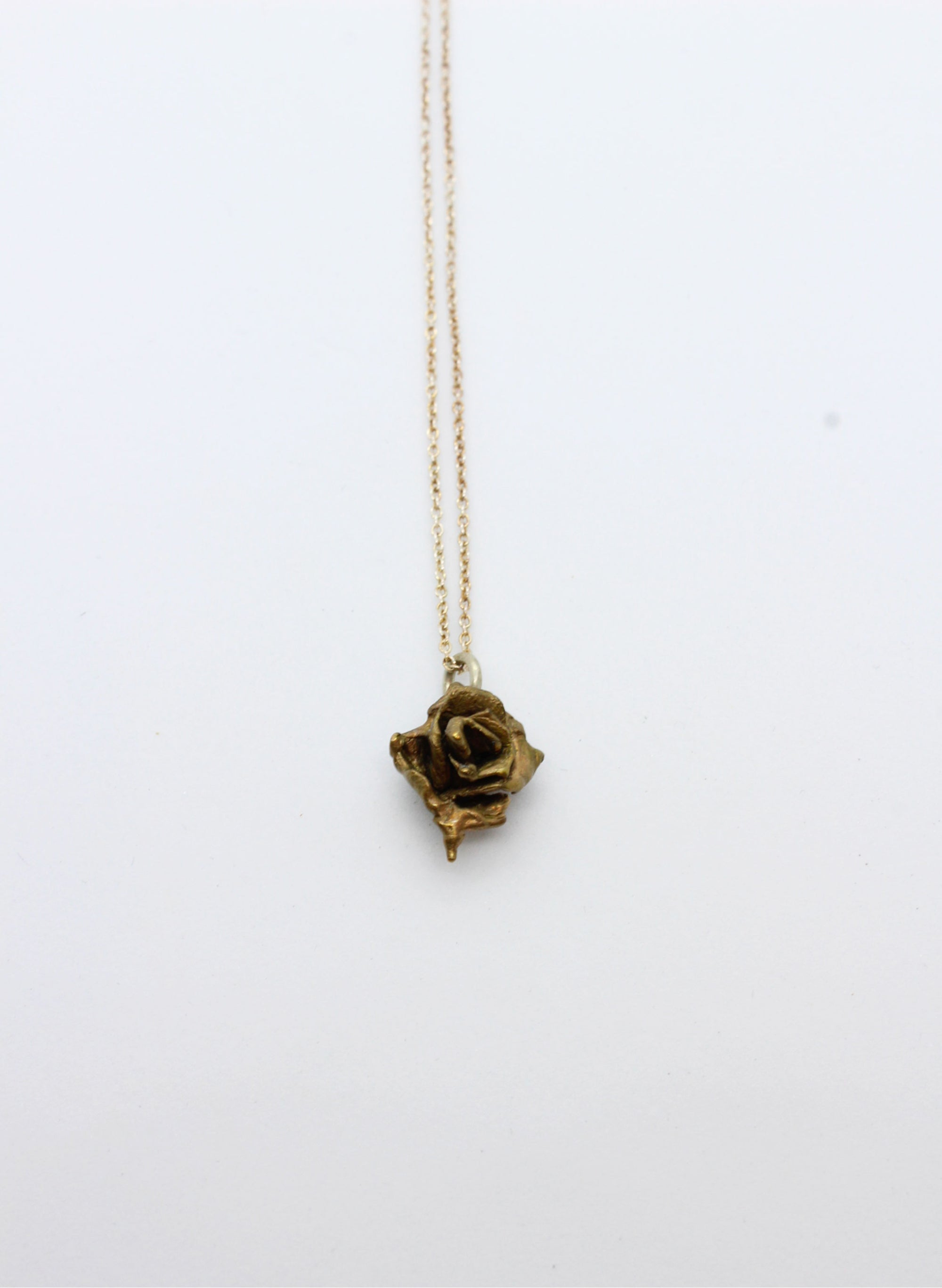 Small Rose Necklace - Bright Bronze