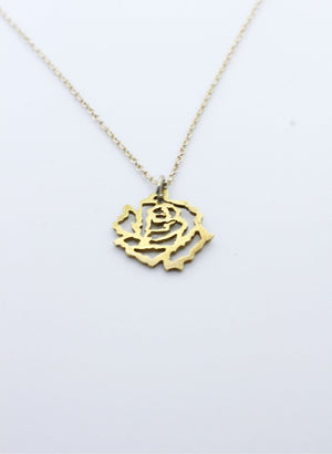 Small Cut Out Rose Pendant - Gold