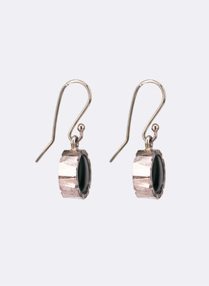 Round Dark Greenstone Earrings - Silver