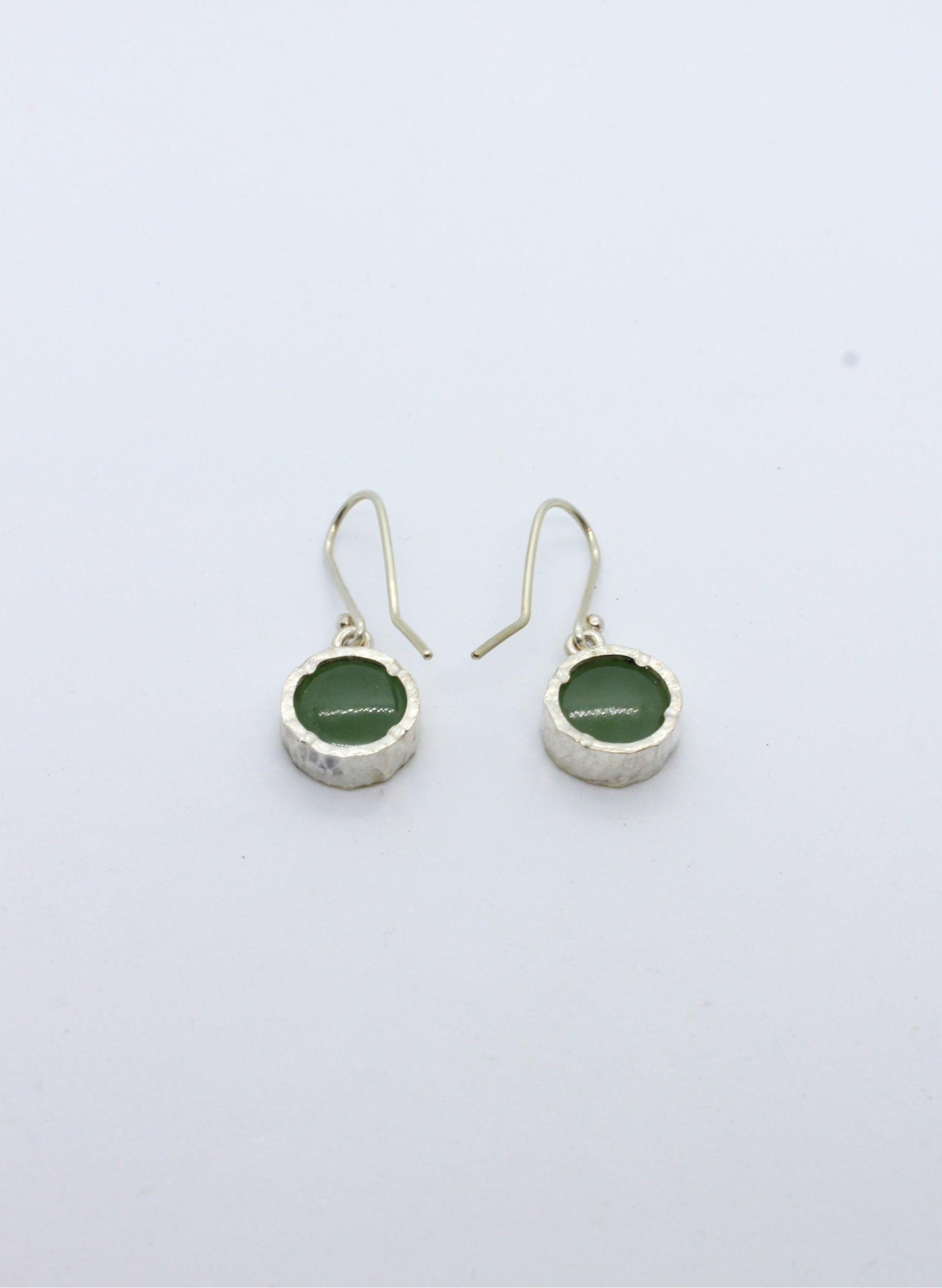 Round Greenstone Earrings - Gold