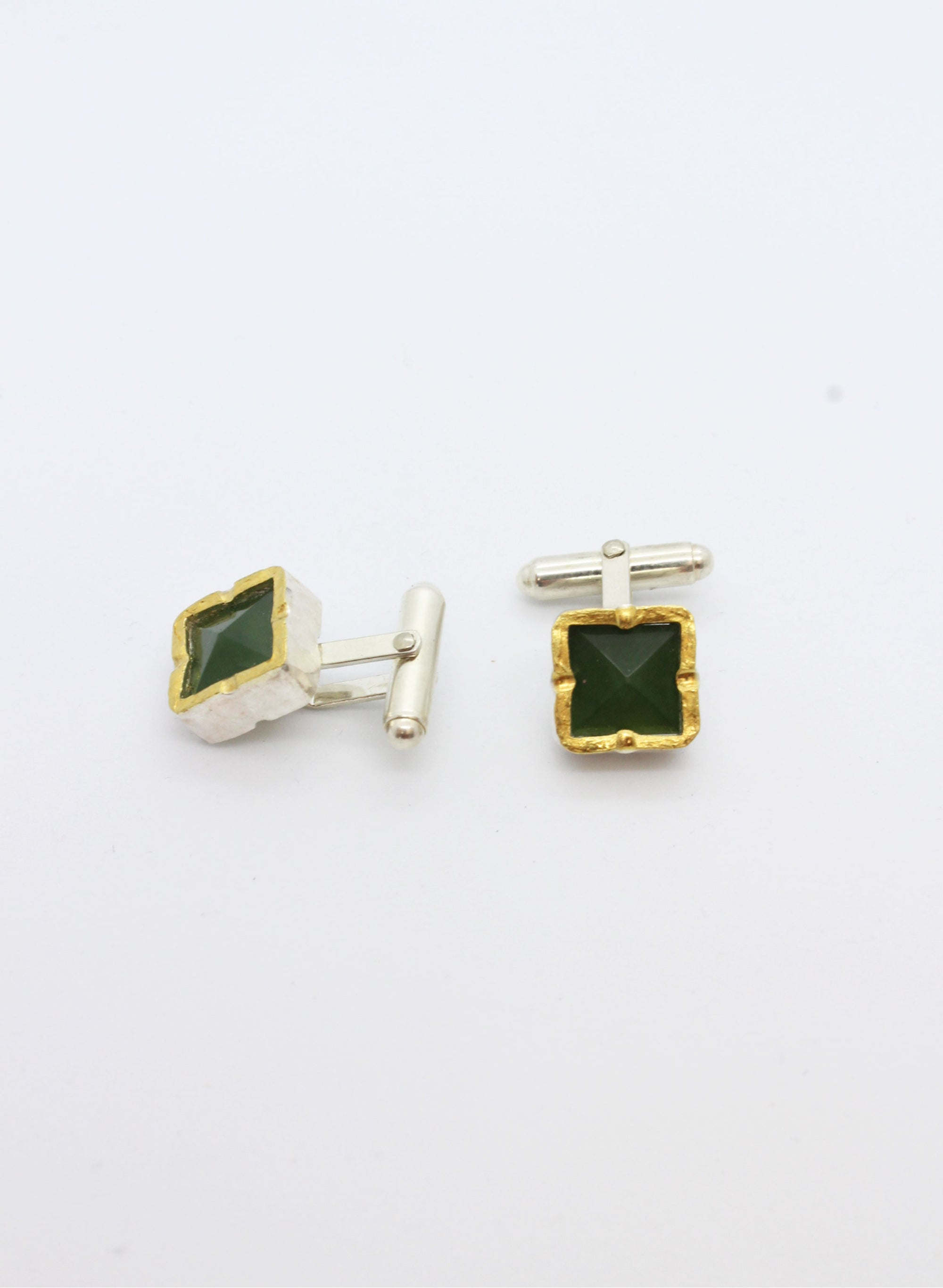 Square Pounamu Cufflinks - Gold