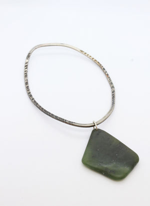 Hokitika Bangle #4 - Sterling Silver & Pounamu