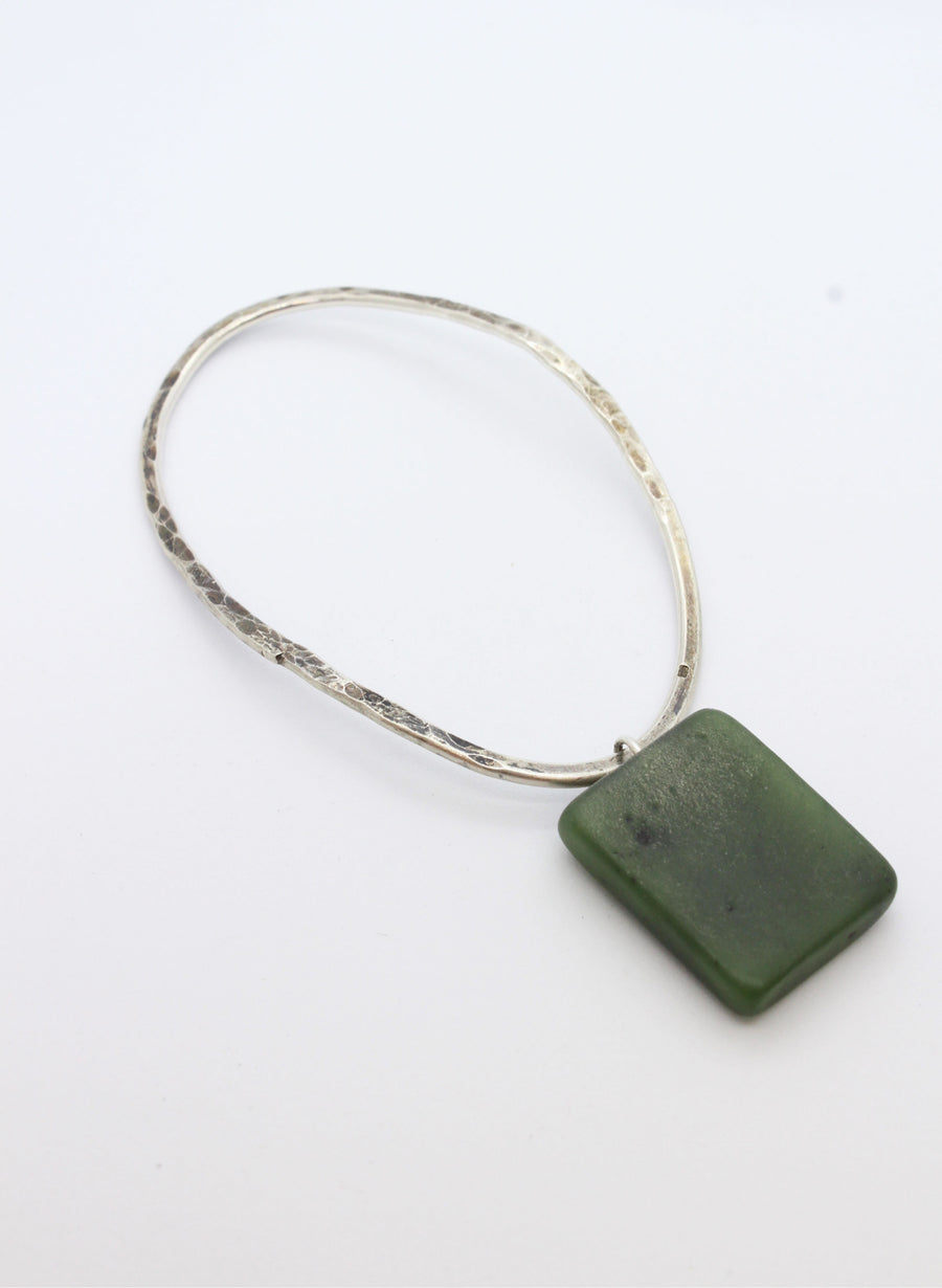 Hokitika Bangle #5 - Sterling Silver & Pounamu