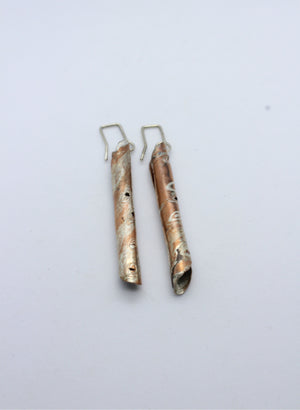 Mokume Gane Wrapped Earrings