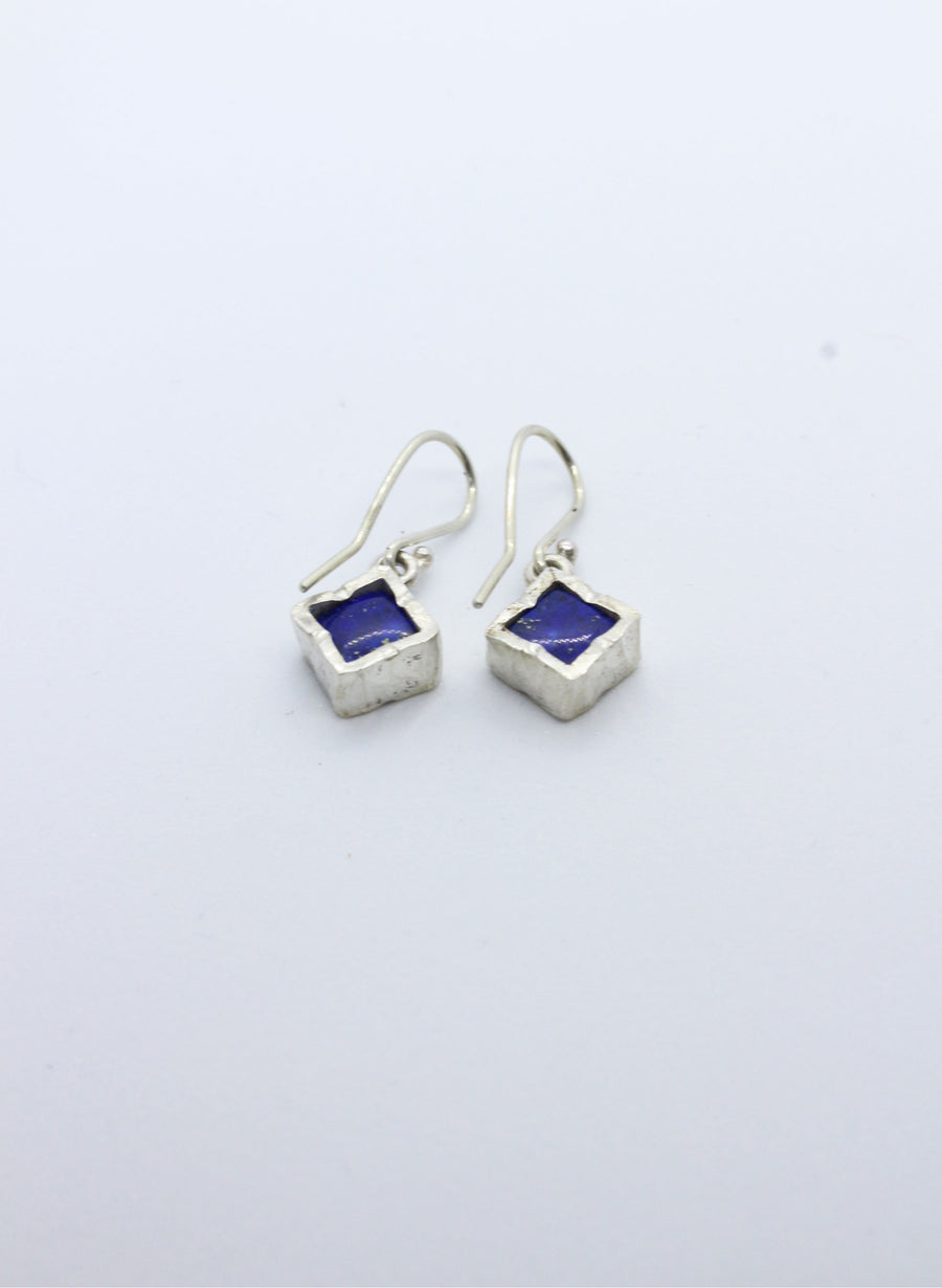 Diamond Lapis Earrings - Gold