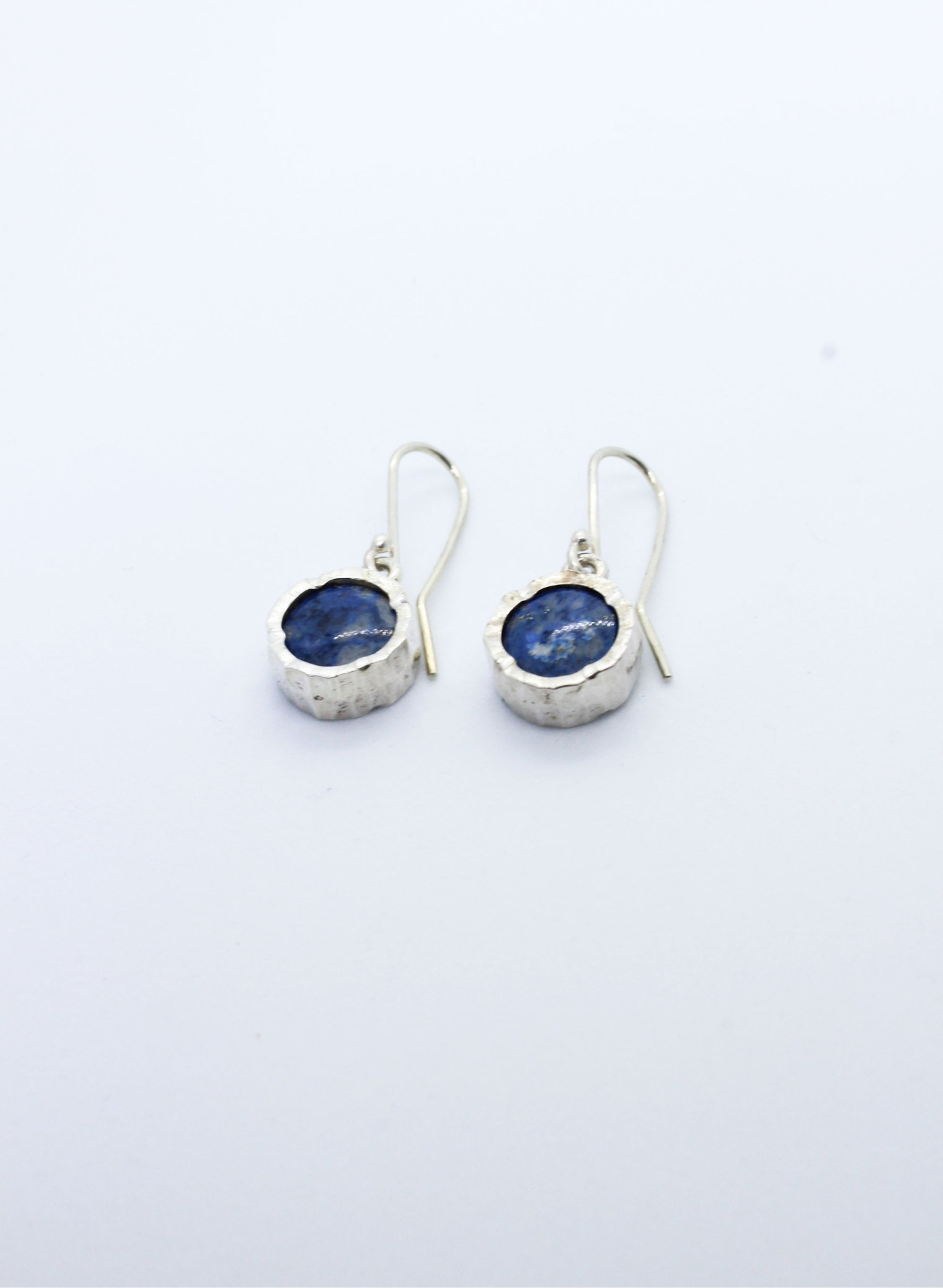 Round Lapis Earrings - Silver