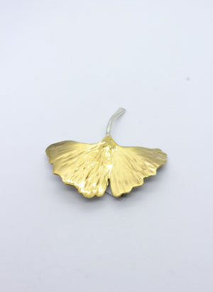 Gold Gingko Leaf Brooch