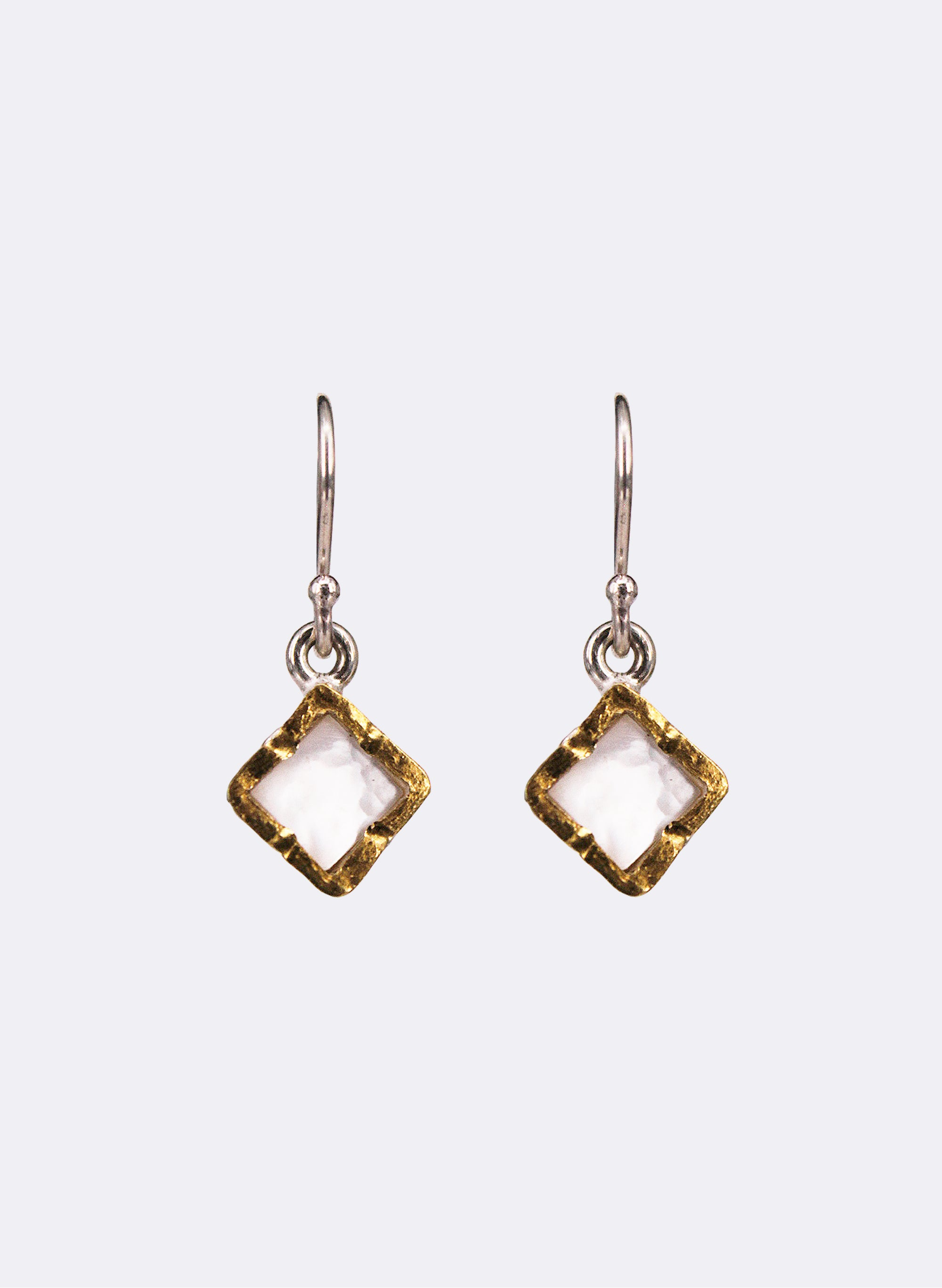 Diamond Mother of Pearl Earrings - Gold