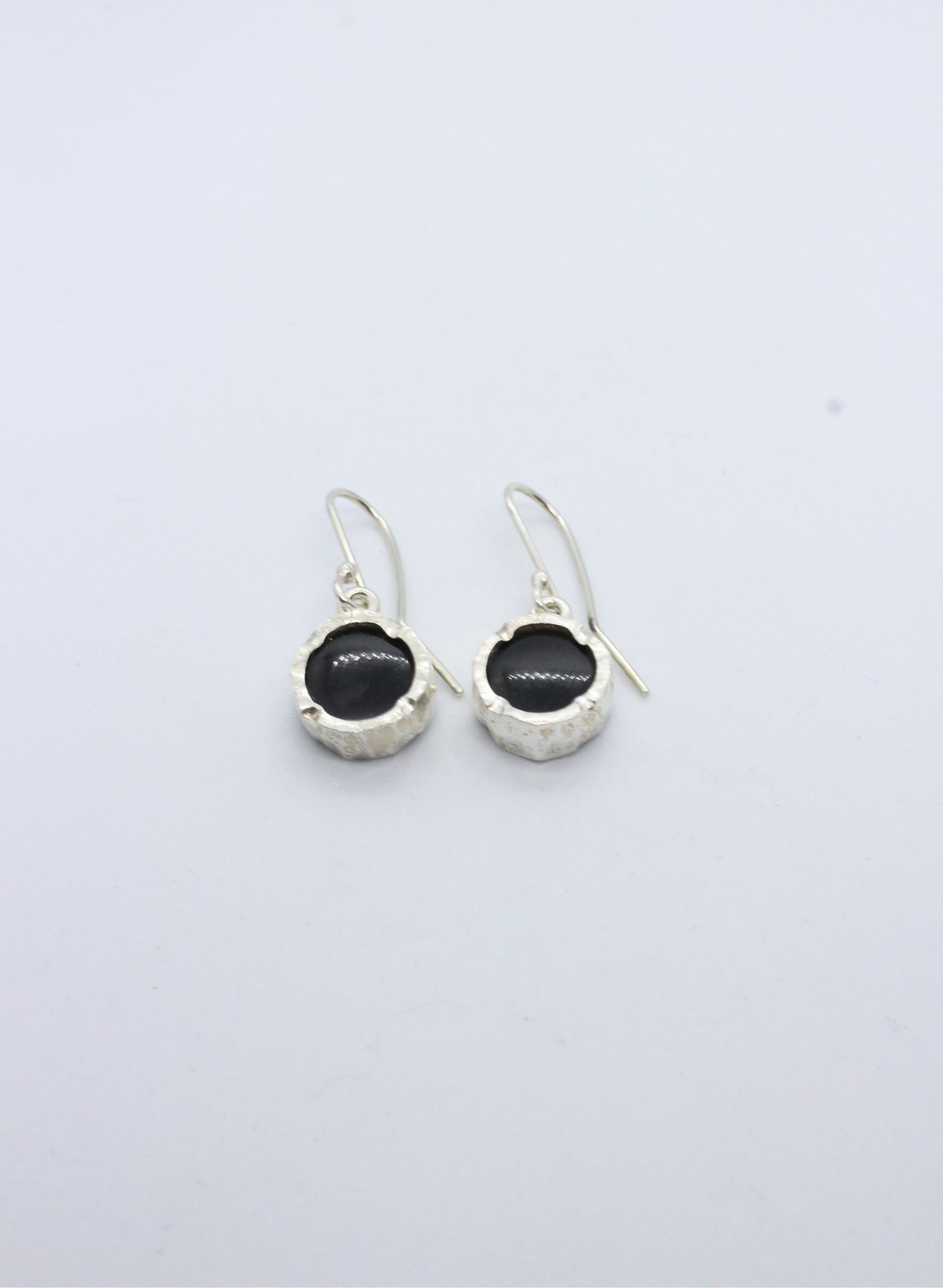 Round Black Lapis Earrings - Silver