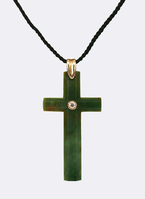 Cross Pendant No.5 Set w/ Round Brilliant Diamond