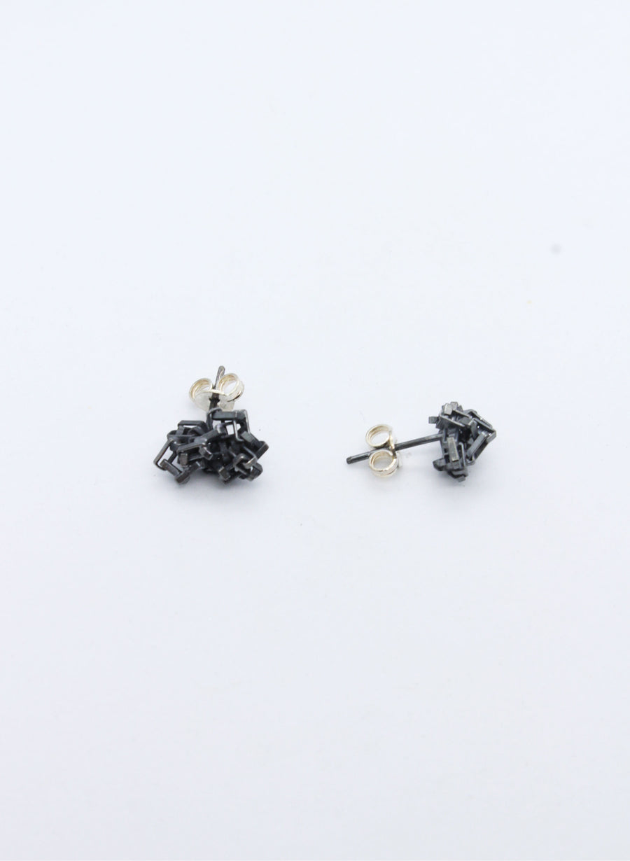 Oxidised Silver Cluster Studs