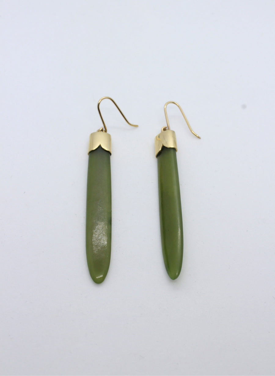 Pounamu Earrings with Gold caps and drop base