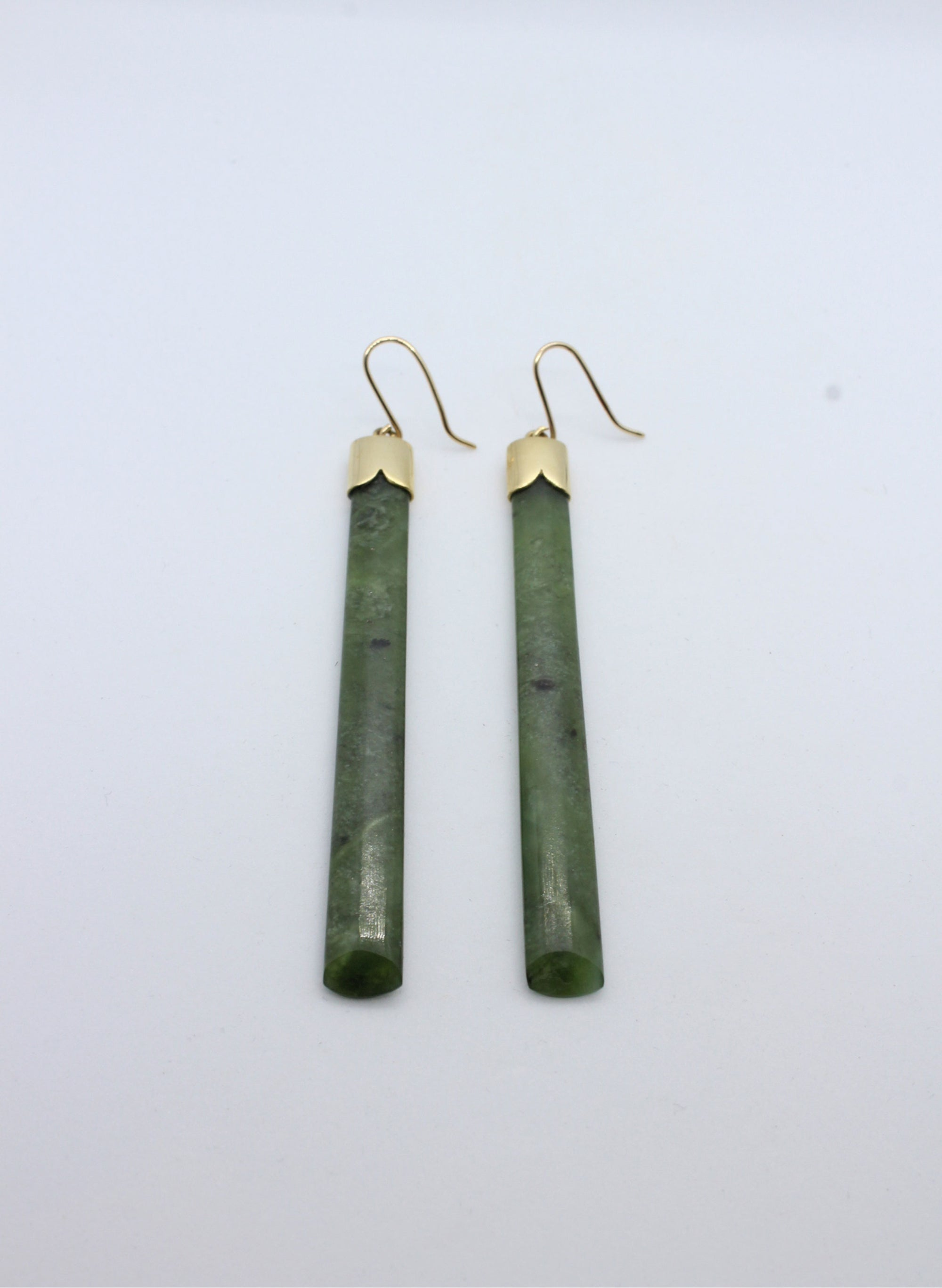 Pounamu Earrings with Gold caps and square base