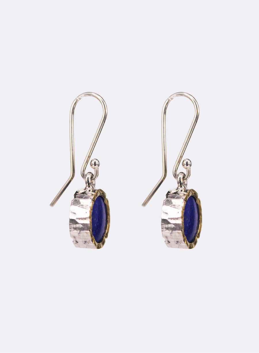 Round Lapis Earrings - Gold