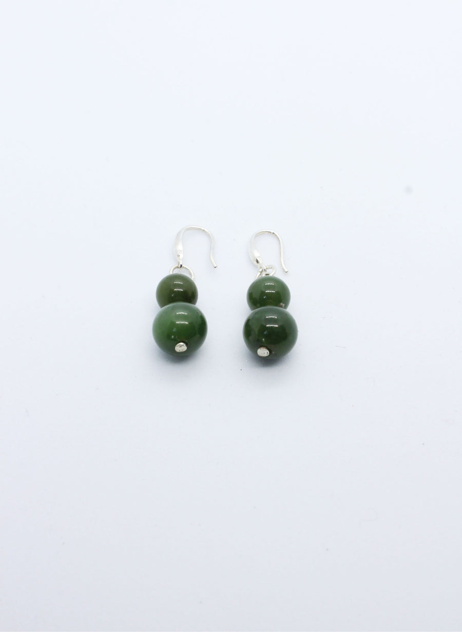 Greenstone Double Ball Earrings