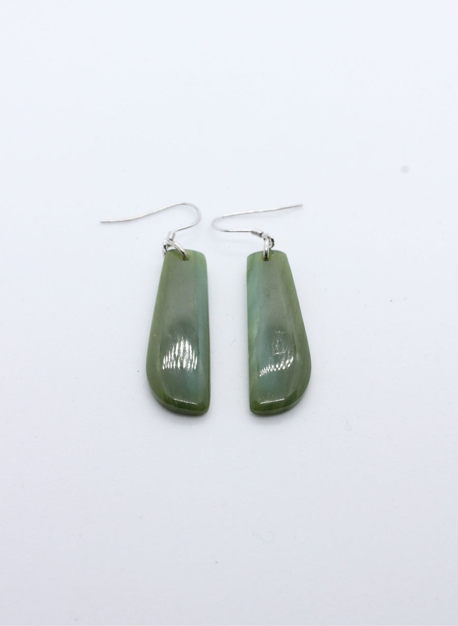 Short Greenstone Drop Earrings 1