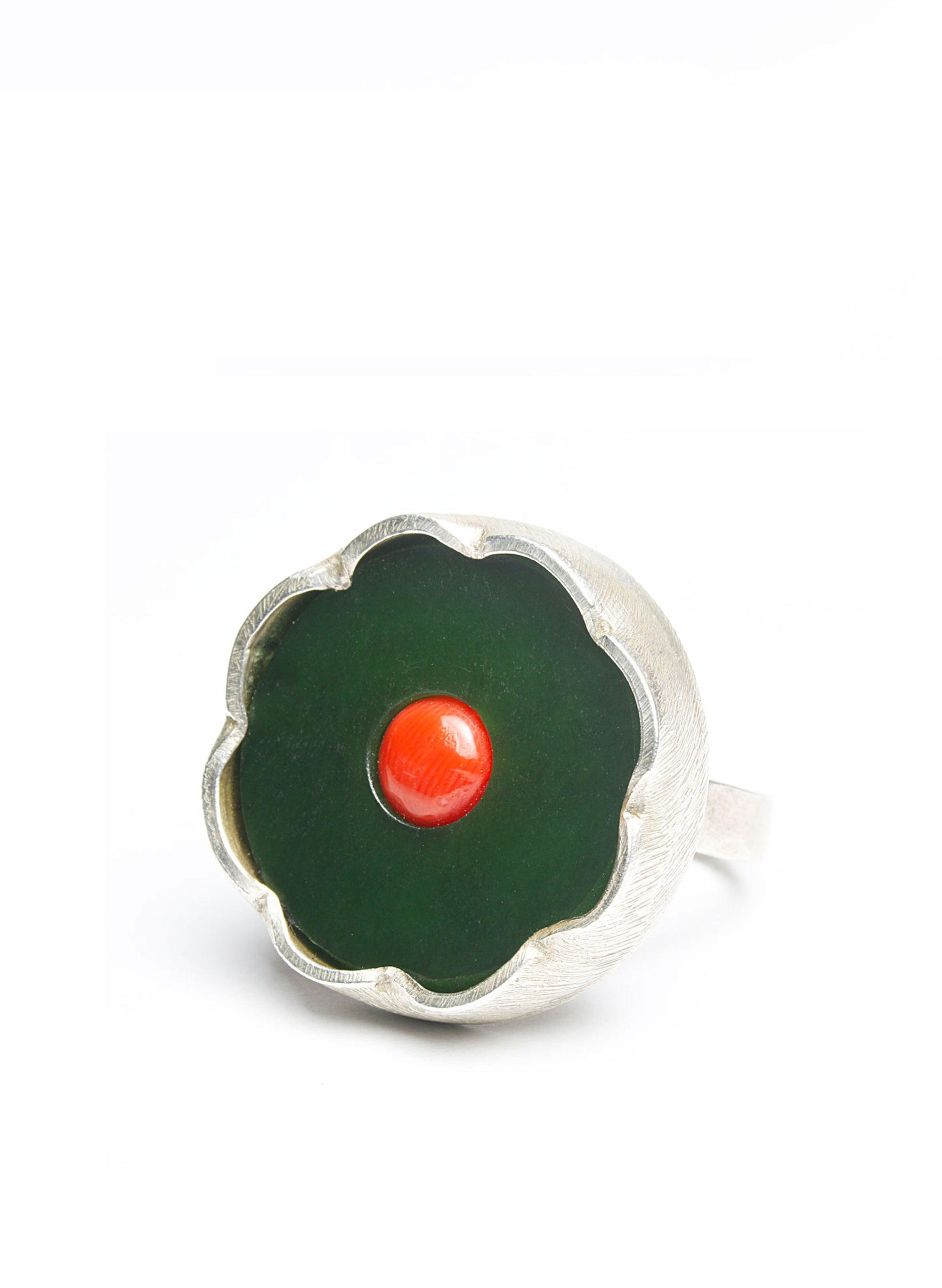 Pounamu + Untreated Red Coral Ring