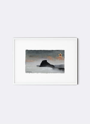 Piha, Lion Rock - Postcard Artwork - Sea Foam Blue