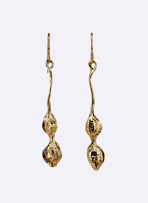 Kōwhai Drop Earrings - Yellow Gold