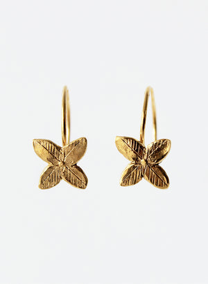 Gold Tumbling Flower Hoop Earrings