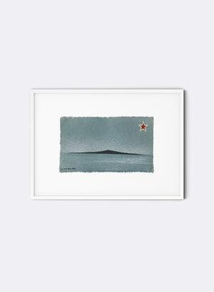 Rangitoto - Postcard Artwork - Aqua Blue