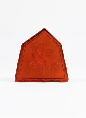 Small Cast Glass Object 'Kia Kaha' - Orange Red