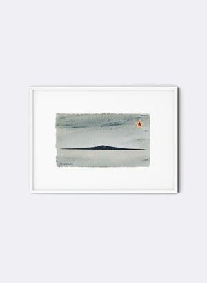 Rangitoto - Postcard Artwork - Sea Foam Blue