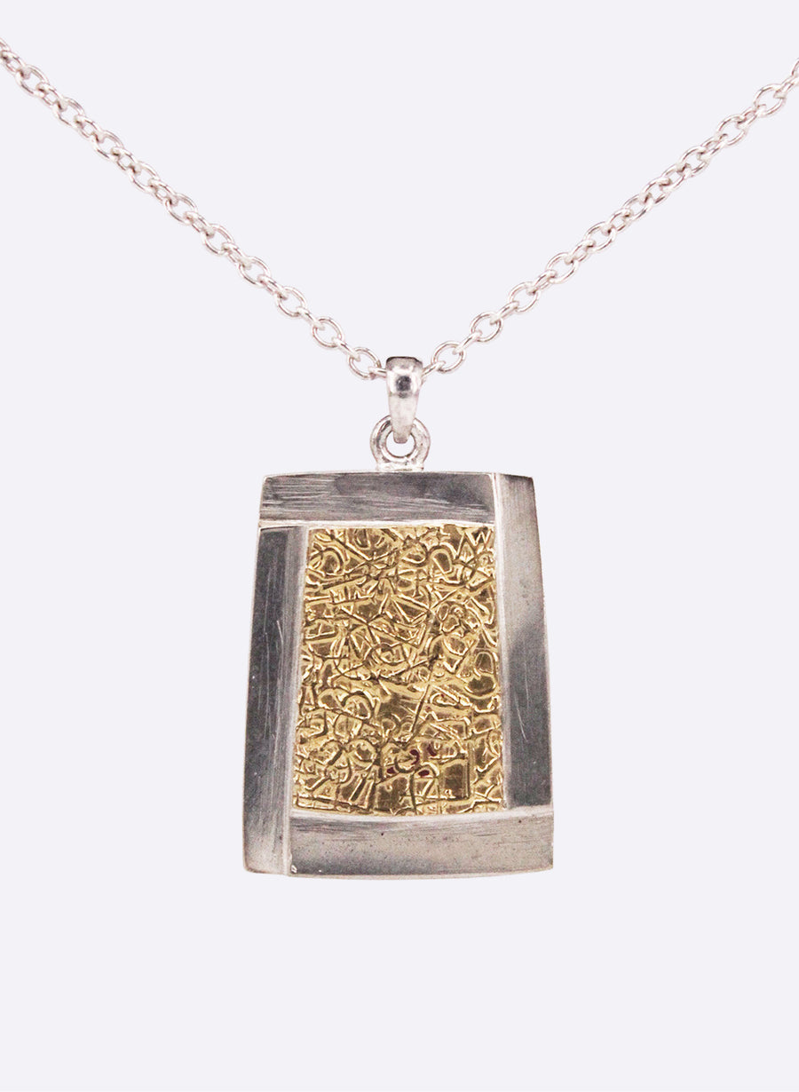 Abstract Rectangle Pendant - Sterling Silver & 22ct Yellow Gold