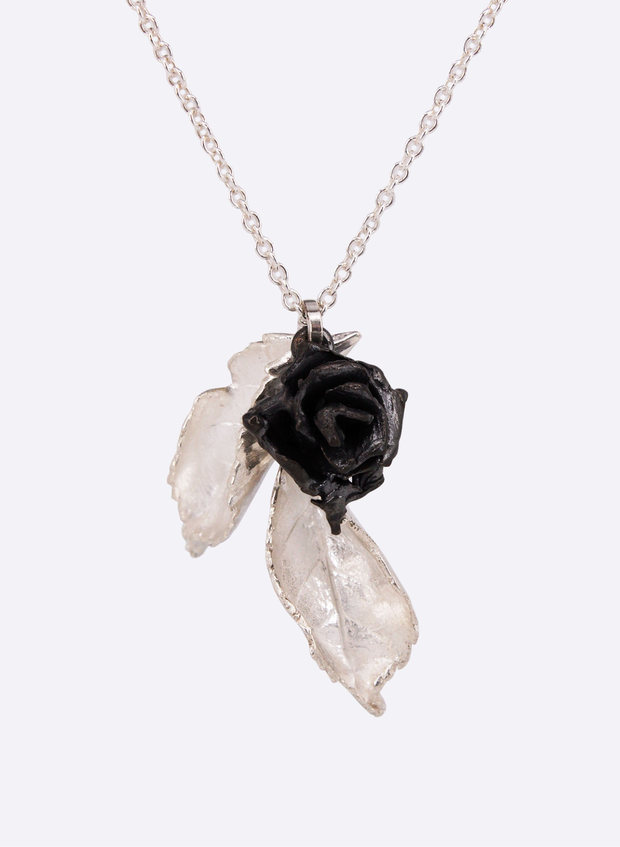 Double Rose Leaf and Rose Necklace