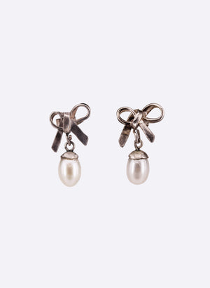Pearl & Bow Drop Earrings
