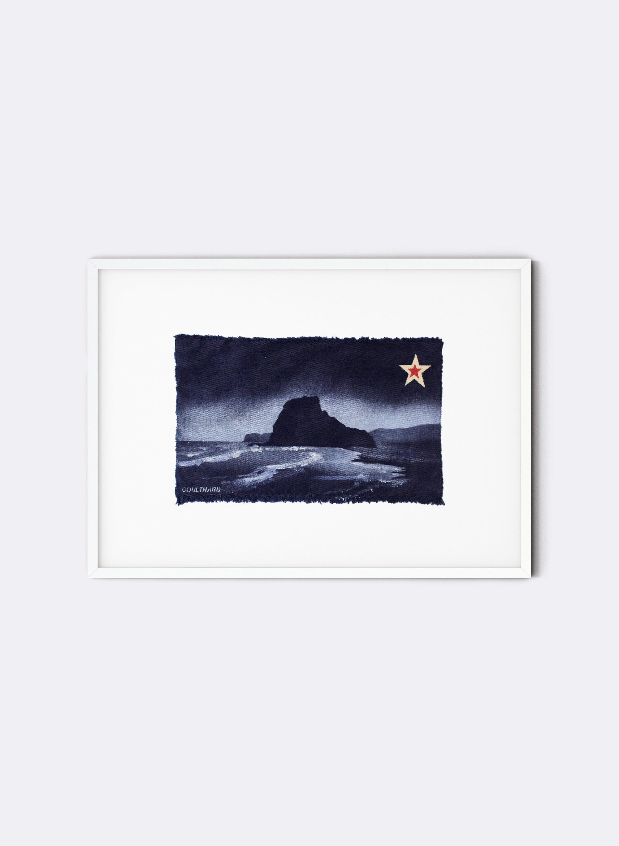 Piha, Lion Rock - Postcard Artwork - Navy