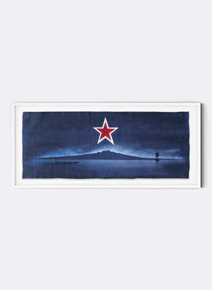 Framed Rangitoto w/ Yacht & Waka, Medium Flag - Deep Navy/Black
